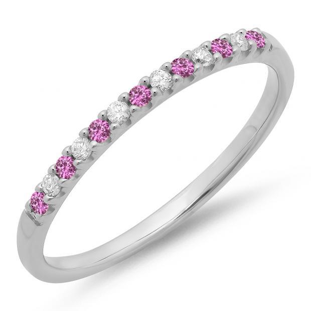 0.15 Carat (ctw) 18k White Gold Round Pink Sapphire & White Diamond Ladies Anniversary Wedding Band Stackable Ring