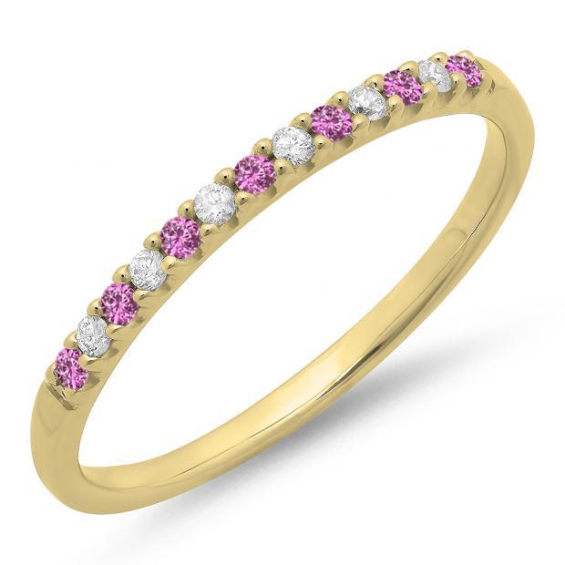 0.15 Carat (ctw) 18k Yellow Gold Round Pink Sapphire & White Diamond Ladies Anniversary Wedding Band Stackable Ring