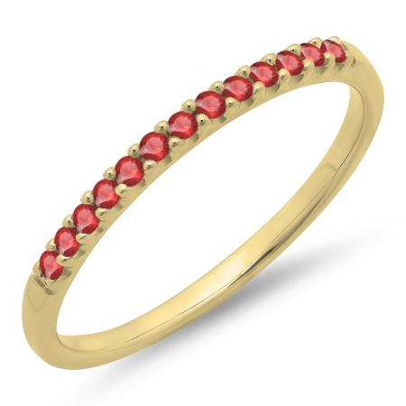 0.15 Carat (ctw) 10k Yellow Gold Round Ruby Ladies Anniversary Wedding Band Stackable Ring