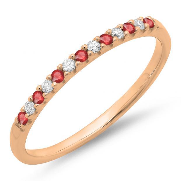 0.15 Carat (ctw) 14k Rose Gold Round Ruby & White Diamond Ladies Anniversary Wedding Band Stackable Ring