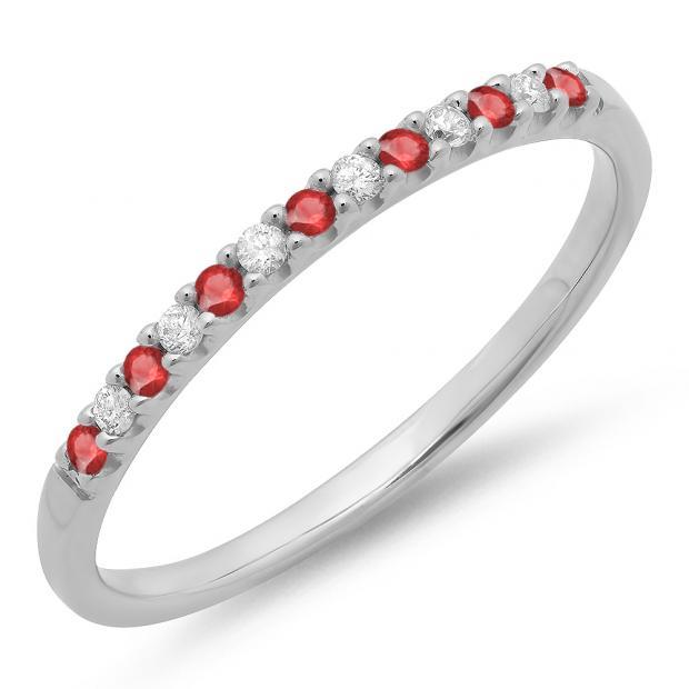 0.15 Carat (ctw) 18k White Gold Round Ruby & White Diamond Ladies Anniversary Wedding Band Stackable Ring