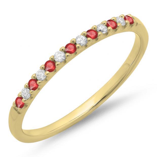 0.15 Carat (ctw) 18k Yellow Gold Round Ruby & White Diamond Ladies Anniversary Wedding Band Stackable Ring