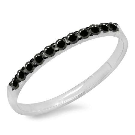 0.20 Carat (ctw) 10k White Gold Round Black Diamond Ladies Anniversary Wedding Ring Stackable Band 1/5 CT