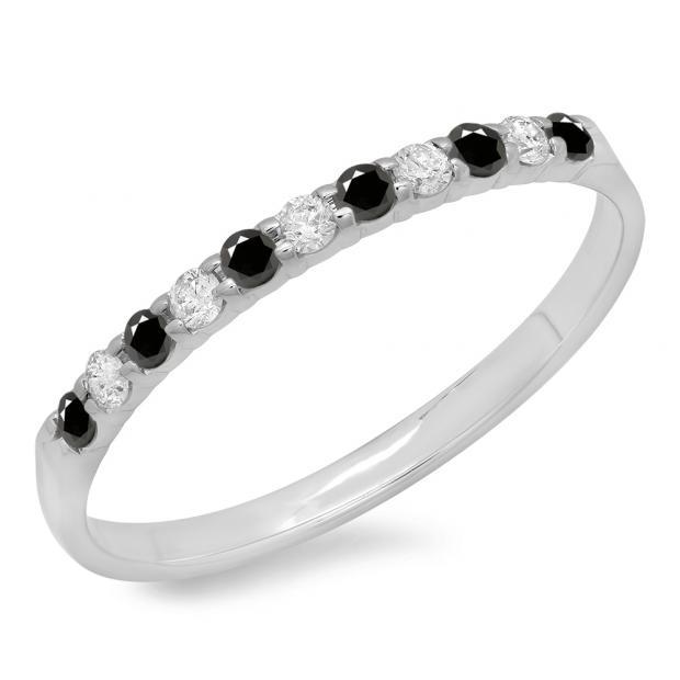 0.20 Carat (ctw) 10k White Gold Round Black & White Diamond Ladies Anniversary Wedding Ring Stackable Band 1/5 CT