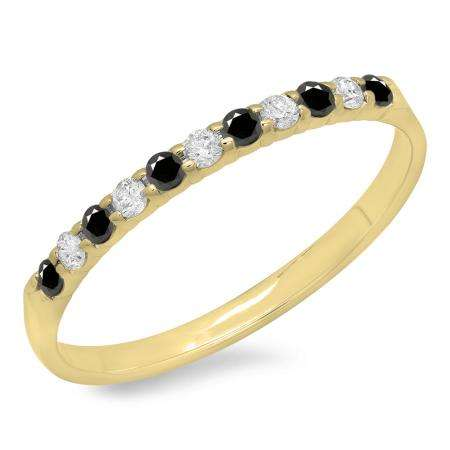 0.20 Carat (ctw) 10k Yellow Gold Round Black & White Diamond Ladies Anniversary Wedding Ring Stackable Band 1/5 CT