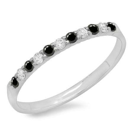 0.20 Carat (ctw) 14k White Gold Round Black & White Diamond Ladies Anniversary Wedding Ring Stackable Band 1/5 CT