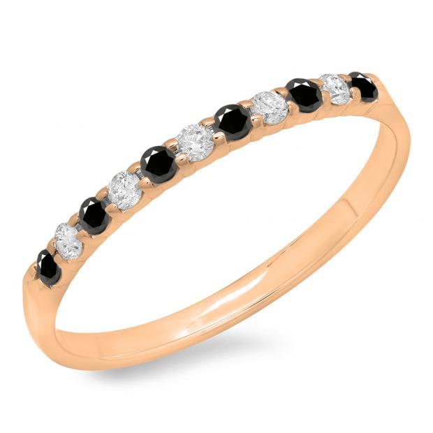 0.20 Carat (ctw) 18k Rose Gold Round Black & White Diamond Ladies Anniversary Wedding Ring Stackable Band 1/5 CT