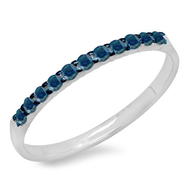 0.20 Carat (ctw) 18k White Gold Round Blue Diamond Ladies Anniversary Wedding Ring Stackable Band 1/5 CT