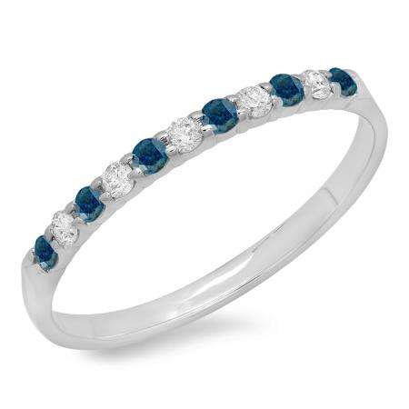 0.20 Carat (ctw) 10k White Gold Round Blue & White Diamond Ladies Anniversary Wedding Ring Stackable Band 1/5 CT