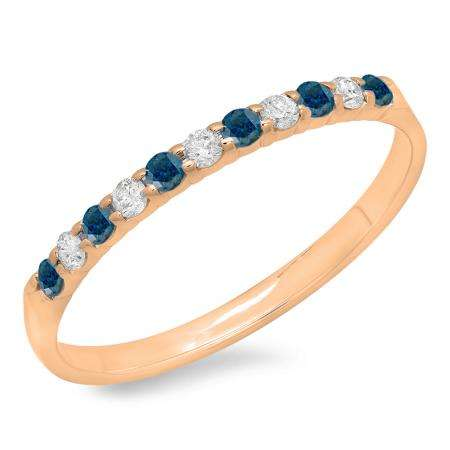 0.20 Carat (ctw) 14k Rose Gold Round Blue & White Diamond Ladies Anniversary Wedding Ring Stackable Band 1/5 CT