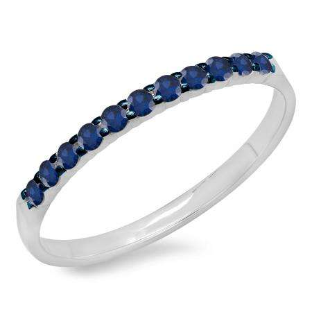0.20 Carat (ctw) 18k White Gold Round Blue Sapphire Ladies Anniversary Wedding Ring Stackable Band 1/5 CT