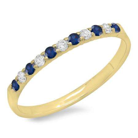 0.20 Carat (ctw) 10k Yellow Gold Round Blue Sapphire & White Diamond Ladies Anniversary Wedding Ring Stackable Band 1/5 CT