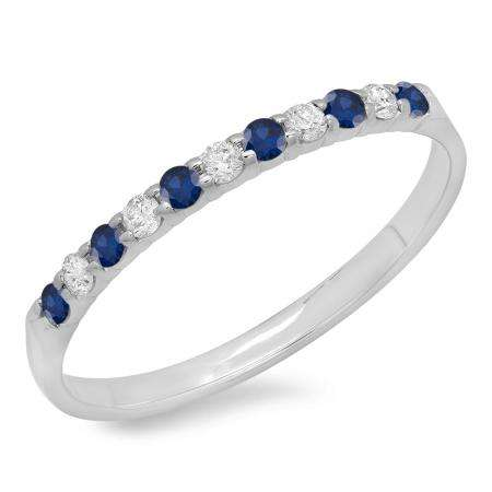 0.20 Carat (ctw) 14k White Gold Round Blue Sapphire & White Diamond Ladies Anniversary Wedding Ring Stackable Band 1/5 CT