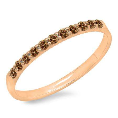 0.20 Carat (ctw) 10k Rose Gold Round Champagne Diamond Ladies Anniversary Wedding Ring Stackable Band 1/5 CT