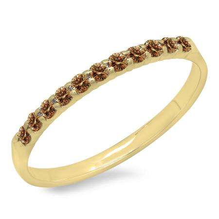 0.20 Carat (ctw) 14k Yellow Gold Round Champagne Diamond Ladies Anniversary Wedding Ring Stackable Band 1/5 CT