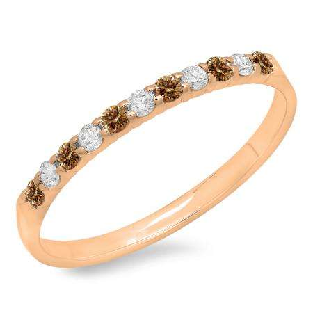 0.20 Carat (ctw) 10k Rose Gold Round Champagne & White Diamond Ladies Anniversary Wedding Ring Stackable Band 1/5 CT
