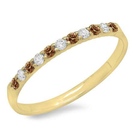 0.20 Carat (ctw) 10k Yellow Gold Round Champagne & White Diamond Ladies Anniversary Wedding Ring Stackable Band 1/5 CT