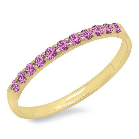 0.20 Carat (ctw) 10k Yellow Gold Round Pink Sapphire Ladies Anniversary Wedding Ring Stackable Band 1/5 CT