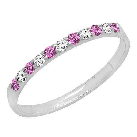 0.20 Carat (ctw) 10k White Gold Round Pink Sapphire & White Diamond Ladies Anniversary Wedding Ring Stackable Band 1/5 CT