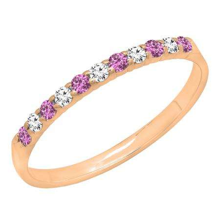 0.20 Carat (ctw) 14k Rose Gold Round Pink Sapphire & White Diamond Ladies Anniversary Wedding Ring Stackable Band 1/5 CT