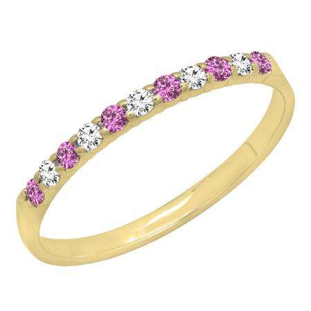 0.20 Carat (ctw) 14k Yellow Gold Round Pink Sapphire & White Diamond Ladies Anniversary Wedding Ring Stackable Band 1/5 CT