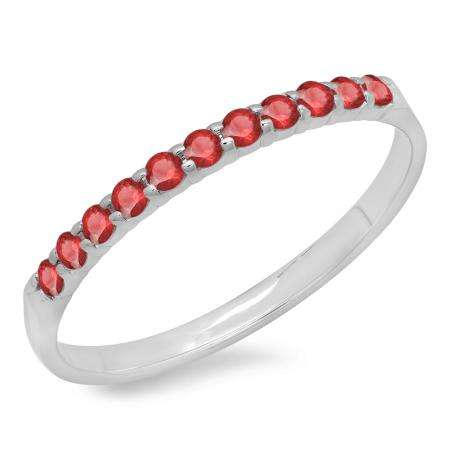0.20 Carat (ctw) 10k White Gold Round Ruby Ladies Anniversary Wedding Ring Stackable Band 1/5 CT