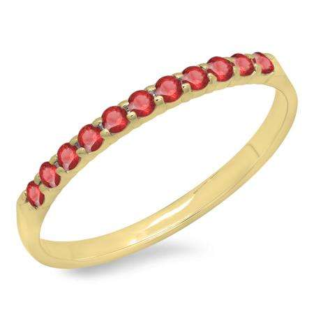0.20 Carat (ctw) 10k Yellow Gold Round Ruby Ladies Anniversary Wedding Ring Stackable Band 1/5 CT