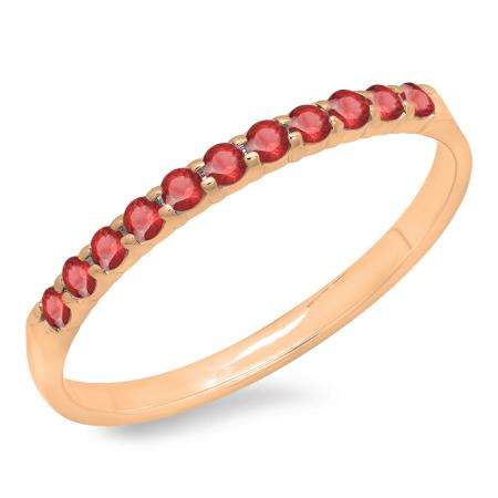 0.20 Carat (ctw) 18k Rose Gold Round Ruby Ladies Anniversary Wedding Ring Stackable Band 1/5 CT
