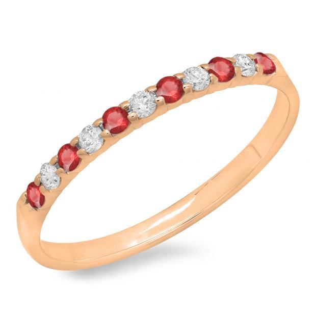 0.20 Carat (ctw) 10k Rose Gold Round Ruby & White Diamond Ladies Anniversary Wedding Ring Stackable Band 1/5 CT