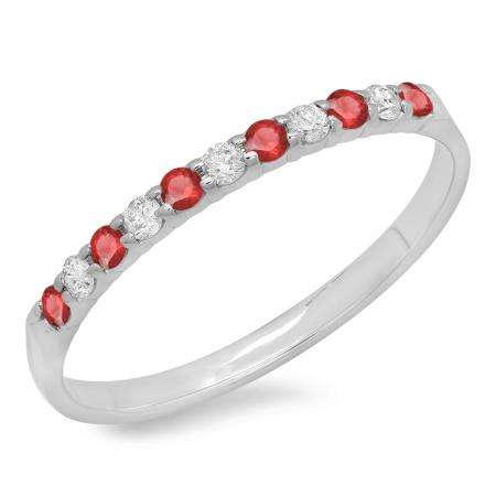 0.20 Carat (ctw) 18k White Gold Round Ruby & White Diamond Ladies Anniversary Wedding Ring Stackable Band 1/5 CT