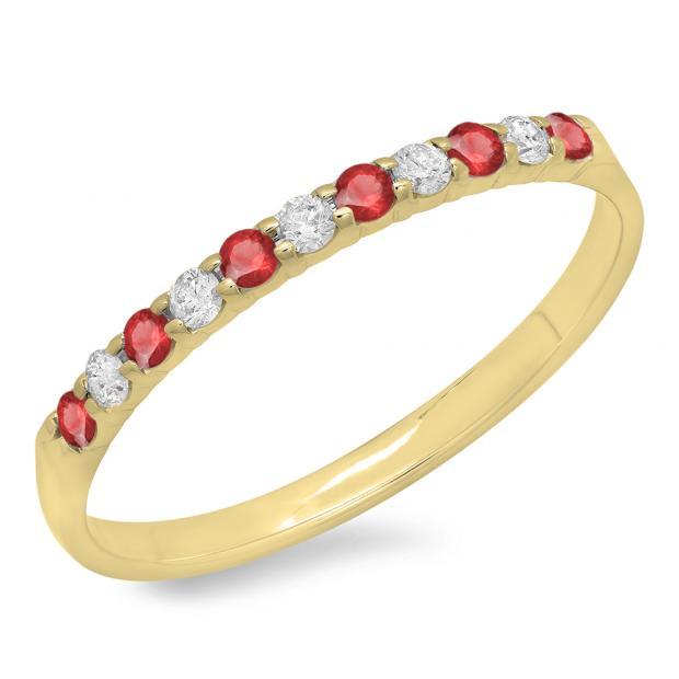0.20 Carat (ctw) 18k Yellow Gold Round Ruby & White Diamond Ladies Anniversary Wedding Ring Stackable Band 1/5 CT