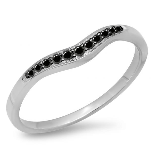 0.11 Carat (ctw) 10K White Gold Round Cut Black Diamond Ladies Anniversary Wedding Stackable Contour Guard Band