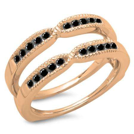 0.35 Carat (ctw) 14K Rose Gold Round Cut Black Diamond Ladies Millgrain Anniversary Wedding Band Guard Double Ring 1/3 CT