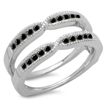0.35 Carat (ctw) 14K White Gold Round Cut Black Diamond Ladies Millgrain Anniversary Wedding Band Guard Double Ring 1/3 CT