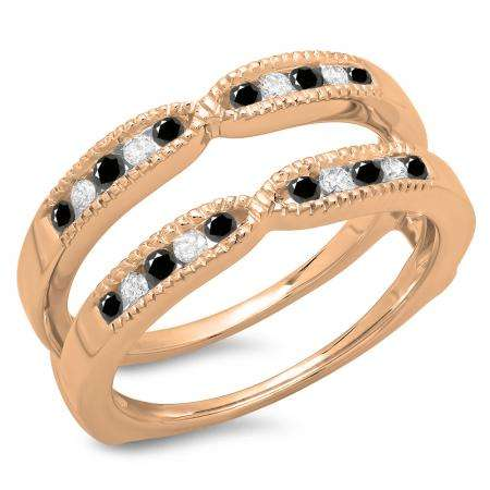 0.35 Carat (ctw) 10K Rose Gold Round Cut Black & White Diamond Ladies Millgrain Anniversary Wedding Band Guard Double Ring 1/3 CT