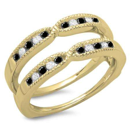 0.35 Carat (ctw) 14K Yellow Gold Round Cut Black & White Diamond Ladies Millgrain Anniversary Wedding Band Guard Double Ring 1/3 CT