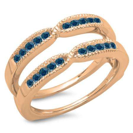 0.35 Carat (ctw) 18K Rose Gold Round Cut Blue Diamond Ladies Millgrain Anniversary Wedding Band Guard Double Ring 1/3 CT