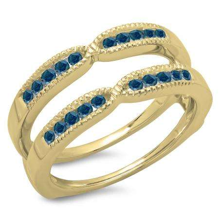 0.35 Carat (ctw) 18K Yellow Gold Round Cut Blue Diamond Ladies Millgrain Anniversary Wedding Band Guard Double Ring 1/3 CT