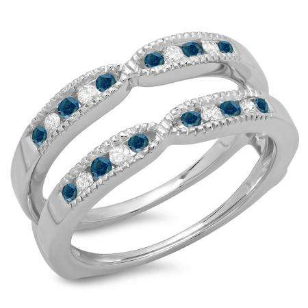 0.35 Carat (ctw) 18K White Gold Round Cut Blue & White Diamond Ladies Millgrain Anniversary Wedding Band Guard Double Ring 1/3 CT