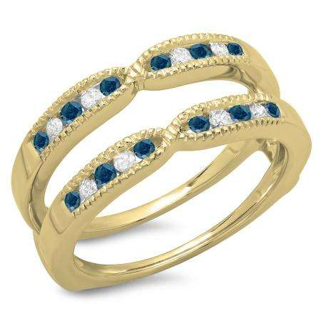 0.35 Carat (ctw) 18K Yellow Gold Round Cut Blue & White Diamond Ladies Millgrain Anniversary Wedding Band Guard Double Ring 1/3 CT