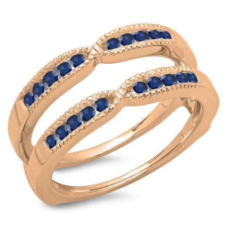 0.35 Carat (ctw) 14K Rose Gold Round Cut Blue Sapphire Ladies Millgrain Anniversary Wedding Band Guard Double Ring 1/3 CT