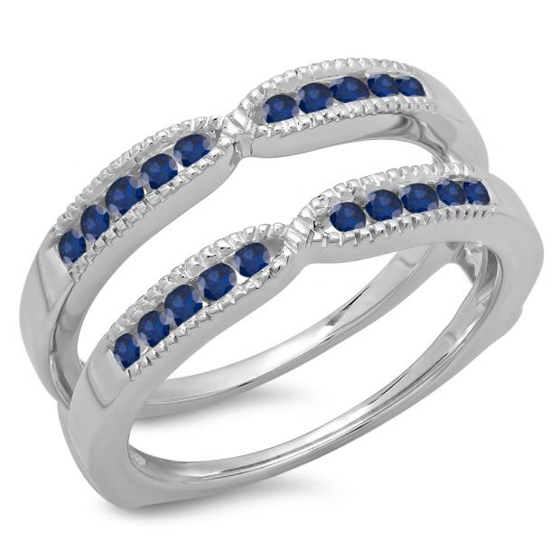 0.35 Carat (ctw) 18K White Gold Round Cut Blue Sapphire Ladies Millgrain Anniversary Wedding Band Guard Double Ring 1/3 CT