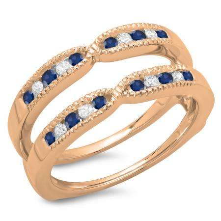 0.35 Carat (ctw) 18K Rose Gold Round Cut Blue Sapphire & White Diamond Ladies Millgrain Anniversary Wedding Band Guard Double Ring 1/3 CT