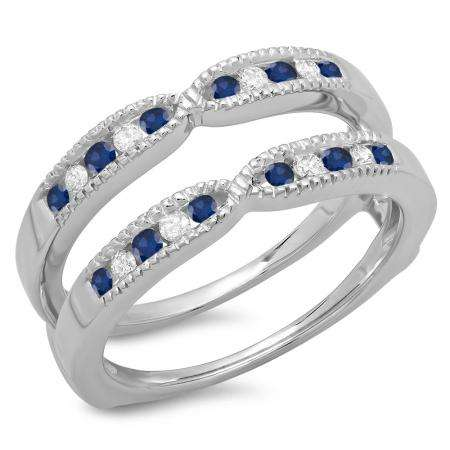 0.35 Carat (ctw) 18K White Gold Round Cut Blue Sapphire & White Diamond Ladies Millgrain Anniversary Wedding Band Guard Double Ring 1/3 CT