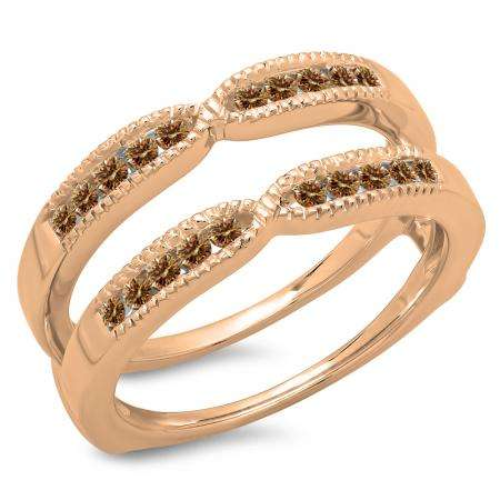 0.35 Carat (ctw) 10K Rose Gold Round Cut Champagne Diamond Ladies Millgrain Anniversary Wedding Band Guard Double Ring 1/3 CT