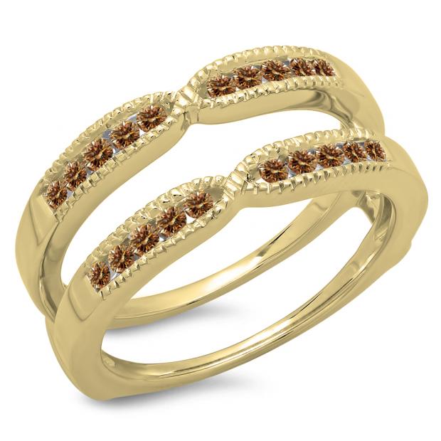 0.35 Carat (ctw) 14K Yellow Gold Round Cut Champagne Diamond Ladies Millgrain Anniversary Wedding Band Guard Double Ring 1/3 CT