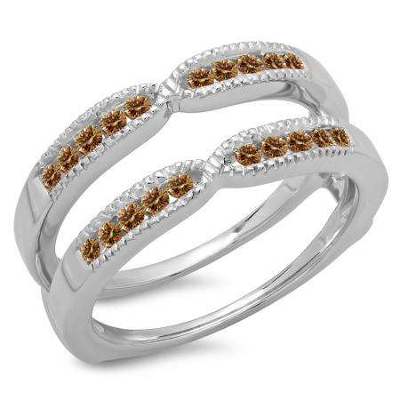0.35 Carat (ctw) 18K White Gold Round Cut Champagne Diamond Ladies Millgrain Anniversary Wedding Band Guard Double Ring 1/3 CT