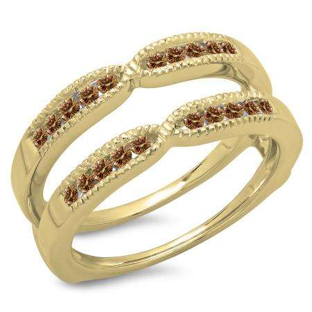 0.35 Carat (ctw) 18K Yellow Gold Round Cut Champagne Diamond Ladies Millgrain Anniversary Wedding Band Guard Double Ring 1/3 CT