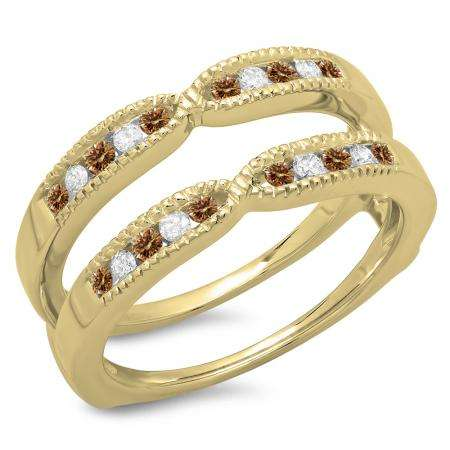 0.35 Carat (ctw) 14K Yellow Gold Round Cut Champagne & White Diamond Ladies Millgrain Anniversary Wedding Band Guard Double Ring 1/3 CT