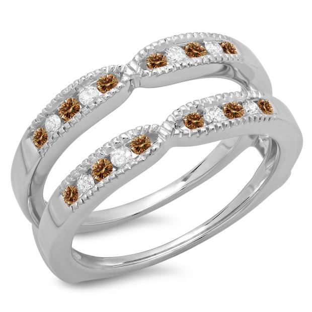 0.35 Carat (ctw) 18K White Gold Round Cut Champagne & White Diamond Ladies Millgrain Anniversary Wedding Band Guard Double Ring 1/3 CT
